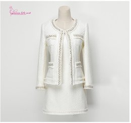 """outfit office 2019 - """"QueenLifeArt"""" 2018 classic dress White coat two-piece outfit black skirt Set Women Long Sleeve Office Casual"""