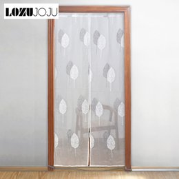 Pocket Rods Australia - LOZUJOJU Door Curtains Embroidery Leaves Style Sheer Drops for Bedroom Gate Elegant Modern Design Thread Fabric Rod Pocket Short