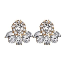 Gold Stone Studs UK - Fashion Luxury Elegant Brand Crystal Stud Earrings for Women Girl Christmas Party Opal Stone Gold Earring Jewelry E2815