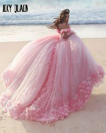Cinderella Dress Quinceanera Australia - 2019 Pink Puffy Ball Gown Quinceanera Dresses With Hand Made Flowers Cinderella Sweet 16 Dress Off The Shoulder Court Train Luxury Prom Wear