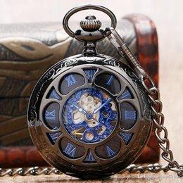 Großhandel Luxus Mechanische Taschenuhr Vintage Steampunk Hohl Skeleton Römischen Ziffern Analog Fob Kette Anhänger Uhr Männer Frauen Geschenke