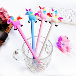 horse stationery NZ - Creative Cartoon Rainbow Horse Unicorn Gel Pen Ink Pen Promotional Gift Stationery School & Office Supply J190704