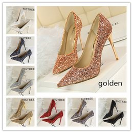 2018 Fashion 8 Colors Wedding Shoes Women s High Heels Shoes Classic Chinese  Woman Party Shoes 437960848a59