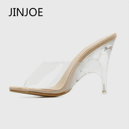 b617ae44e ... Jinjoe Mulher Sapatos 2019 Verão Nova Boca De Peixe Sandálias de Vidro  Transparente Sapatos de Alta Sapatos de Salto Alto Bomba de Calcanhar De  Cristal