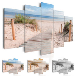 orange abstract canvas art NZ - Fashion Wall Art Canvas Painting 5 Pieces Blue Orange Grey Beach Ocean Landscape Modern Home Decoration,No Frame