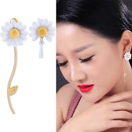 Elf Ears Earrings online shopping - Spring New Elf White Drop Glaze Asymmetric Small Daisy Tassel Flower ear stud earrings Silver Pin For Woman jewelry JJ167