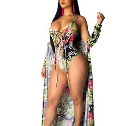 Chinese  Womail printed sexy Women Colour Printing One-Piece Garment Smock Swimsuit Two Piece Suit high waist bikini manufacturers