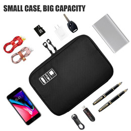 Discount hard case electronic Portable Travel zipper USB Cable Bag Organizer black Nylon Phone Charger Case For Electronic Accessories hard drive Stor