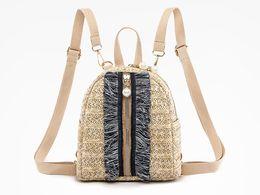 Styles Backpacks Australia - Straw Woven Small Backpack Women Fashion Bag Stripe Print Shoulder School Bags Knitting Backpack Female Handbag