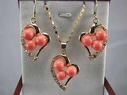 $enCountryForm.capitalKeyWord Australia - Authentic Jewelry green jade red coral heart-shaped Pendant Necklace Earrings set 18K Gold Plated Wedding free shipping