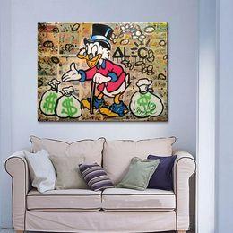 $enCountryForm.capitalKeyWord Australia - Alec Hand-painted Graffiti pop street Art Oil painting Daffy Duck On Canvas High Quality Wall Art Home Deco Multi sizes  Frame Option g213