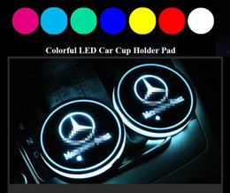 Lights for interior car online shopping - 2pcs LED Car Cup Holder Lights for Mercedes Benz Colors Changing USB Charging Mat Luminescent Cup Pad LED Interior Atmosphere Lamp