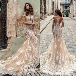 Short White Dress Plunging Neckline Australia - Champagne Julie Vino Wedding Dresses 2019 Off Shoulder Deep Plunging Neckline Bridal Gowns Sweep Train Lace Wedding Dress Custom Made