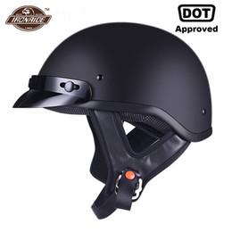 Half Helmet Black Australia - AMZ Motorcycle Helmet Half Face Retro Moto Helmet Vintage German Style Casco Casque Scooter Helmets With Inner Sun Visor DOT