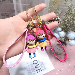 $enCountryForm.capitalKeyWord Australia - Lovely Sweater Girl Keychain Modern Cartoon Animation Doll Key chain Car Keyring Bag Pendant Action Figure toys 234