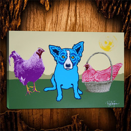 $enCountryForm.capitalKeyWord Australia - Blue Dogs Chicken In A Basket,1 Pieces Canvas Prints Wall Art Oil Painting Home Decor (Unframed Framed) 24X36.