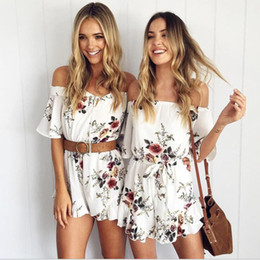 f70575bd798 Women top quality Sexy white summer Floral Print off shoulder Bodycon rompers  womens jumpsuit Women Elegant shorts Overalls 48