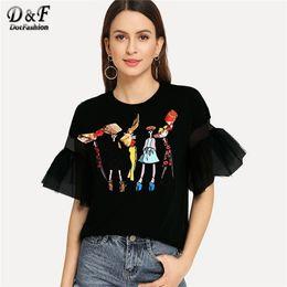 Black Flounce Shirt Australia - Dotfashion Black Lace Bow Cartoon Print Tee Women Autumn 2019 Fashion Clothes Casual Flounce Sleeve Tops Summer Preppy T-Shirt Y19042501