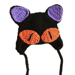 crochet baby earflap hat UK - Super Cool Scary Cat Hat,Handmade Crochet Baby Boy Girl Cat Animal Earflap Hat,Kids Halloween Costume,Infant Toddler Photo Prop