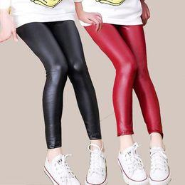 $enCountryForm.capitalKeyWord Australia - Faux PU Leather Teens Children Kids Girls Leggings Thin Skinny Pencil Pants Spring Autumn Baby Girl Clothes