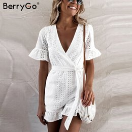 Women S Cotton Jumpsuits Australia - Berrygo Sexy Deep V-neck Romper Women Ruffled Hollow Out Embroidery Cotton White Playsuit Elegant Sashes Jumpsuit Short Q190508