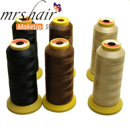 wholesale hair weaving thread NZ - 1Roll lot Hair Weaving Thread High Strength Polyester Thread for Brazilian hair Extension Sewing Salon Styling Tools