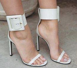 Light Green Heels Australia - 2019 Summer women sandals Red  Green Blue Color open Toe gladiator sandals Fashion Buckle high heels Women party stilettos