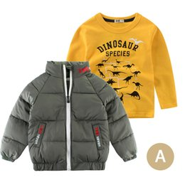 China Combination Promotion Autumn Two-piece Sets Children's Cotton Clothing Boy Jacket Kids Vest Winter Coat + Long-sleeved T-shirt cheap winter combinations suppliers
