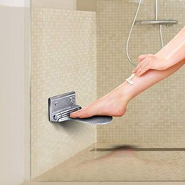 Shower walling online shopping - Space Aluminum Alloy Foldable Shower Foot Rest Nail Wall Foot Rest Step for Shaving Legs for Kids Elders Pregnant