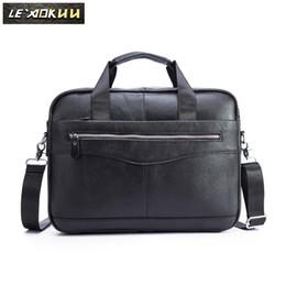 AttAche briefcAses online shopping - Men Genuine Leather Vintage Fashion Travel Briefcase Business quot Laptop Case Design Attache Messenger Bag Portfolio