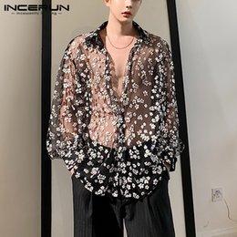 Wholesale loose transparent shirts for sale – plus size Fashion Men Mesh Shirt Transparent Long Sleeve Lapel Printed Blouse Loose Nightclub Party Casual Casmia Streetwear S XL INCERUN