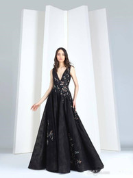 $enCountryForm.capitalKeyWord Canada - Tony Ward 2019 Evening Dresses A Line Black Arabic Embroidery Deep V Neck Lace Appliqued Beads Party Gowns Custom Made Formal Prom Dresses