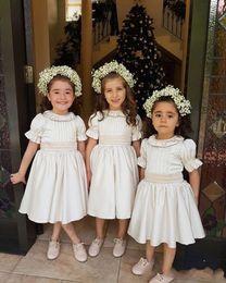 Cheap Cute Shorts Australia - 2019 Cute Vintage Short Sleeve Flower Girls Dresses Jewel Neck Tea Length First Communion Dresses Girls Pageant Gown Cheap Hot Sale