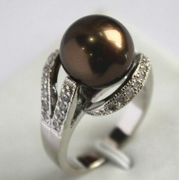 $enCountryForm.capitalKeyWord Australia - Jewelryr Jade Ring New Style Chocolate 12MM Bead silver-color Inlay CZ South Sea Shell Pearl Gift Fashion Rings For Women Free Shipping