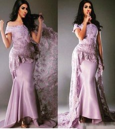 Robe maRiage piece online shopping - Elegant Evening Formal Dresses Lace Mermaid Prom Dress Formal Women Of the Shoulder Long Party Gowns Robe De Mariage
