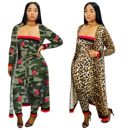 China 3PCS Suits Autumn Women Camouflage Leopard Three Piece Set Casual Bra Top Straight Leg Pants Full Sleeve Long Cloak Outfits suppliers