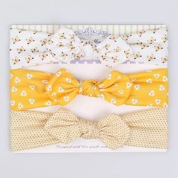 Wrapping Paper Bows Australia - Carboard Cat Ears Bohemian Headband Wave point Turban Twist Wraps Twisted Knot Soft Floral Headbands Bandanas Handmade Baby Wraps Bows