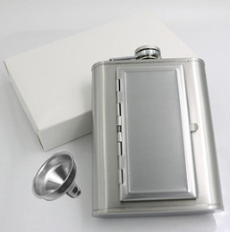 mini cigar case Australia - Perfect Pregame Flask PU Leather Wrapped Stainless Steel Hip Flask Liquor Alcohol Bottle with Built-in Cigar Case Holder and Funnel Set