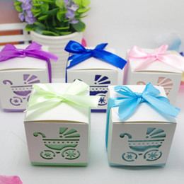 Laser cut baby online shopping - Laser Cut Baby Car Baby Shower Candy Favor Box Girl Birthday Party Candy Box with Ribbon Sweet Wedding Decoration Candy