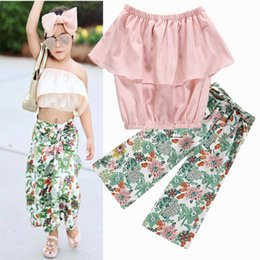 Wholesale Girl s suit with chest and leaf coat printed Floret straight belt minutes trousers Fashion Europe and the United States