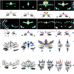 Body crystal stickers online shopping - 6PCS Temporary Rhinestone Glitter Tattoo Stickers Face Jewels Gems Festival Party Makeup Body Jewels Flash Face Crystal Stick