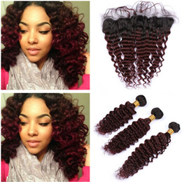 $enCountryForm.capitalKeyWord Australia - Burgundy Ombre Virgin Brazilian Human Hair Deep Wave Weaves with Frontal Closure 13x4 Wavy #1B 99J Wine Red Ombre Lace Frontal with Bundles