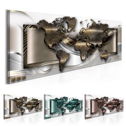 $enCountryForm.capitalKeyWord Australia - Abstract metal world map Design Canvas Print Wall Art Modern Home Decoration, Choose Color & Size(Multicolor)No Frame