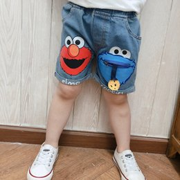 korean style fashion men pants NZ - 2019 Summer New Style Korean-style Children's Jeans Men And Women Children Cartoon Elastic Waist Fashion Shorts Baby Casual Pant