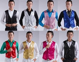 Silver Red Roses Australia - 7 colors sequins vest costumes men's vests male host Dahe singing dance performance rose pink red black gold silver white yellow