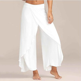 Red Wide Leg Pants Australia - Nibesser Summer Chiffon Irregular Side Women Causal Wide Leg Split Trousers Female Solid Elastic Wasit Loose Pants Q190531