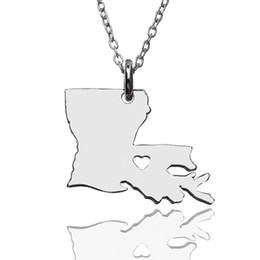 $enCountryForm.capitalKeyWord Australia - Louisiana Map Necklace With a Heart USA State Necklaces Personalise jewelry Gift For Woman free shipping