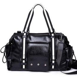 Fashion PU Leather Men s Travel Bag Luggage Men Carry On Duffel Weekend  Shoulder Messenger Computer Bags Big Tote Handbag Business Black 858201492688f
