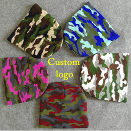 elastic skull cap Canada - Short beanies Soft Knitted camouflage Man Elastic Winter Thick cap for Men Camo ski caps Warm Embroidery logo Hat Adult