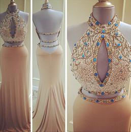 $enCountryForm.capitalKeyWord Australia - Elegant Pearls Champagne Dresses Evening Wear Halter Two Pieces Real Photos mermaid Long Crystal Beading Prom Formal Dress Gowns